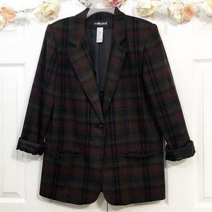 🖤SAG HARBOR plaid boyfriend vintage blazer